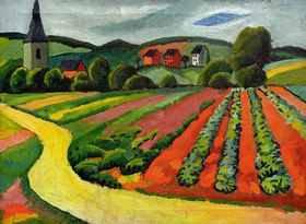 August Macke: Landschaft mit Kirche und Weg