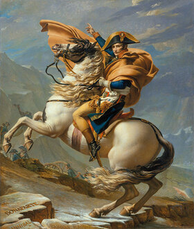 Jacques Louis David: Napoleon Bonaparte überquert die Alpen über den Sankt-Bernhard-Paß, 20. Mai