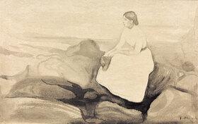 Edvard Munch: Inger am StrandMunch, Edvard 1863?1944, Inger am Strand, um 1889, Inger Munch, die Schwester des Künstlers, Wasserfarbe und Bleistift auf Papier auf Karton, 18,5 × 27,7 cm, Stockholm, Privatsammlung