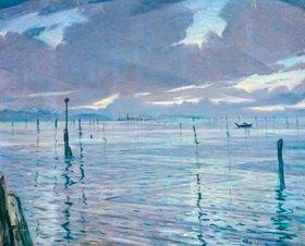 Christopher Richard Wynne Nevinson: Torcello, Veneto, Blick über die Lagune von Venedig zur Insel Torcello, undatiert
