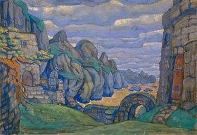 Nikolai Konstantinow Roerich: Tristan und Isolde, Bühnenbildentwurf zum 3. Akt (Burg Kareol)