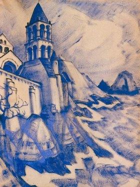 Nikolai Konstantinow Roerich: Bühnenbildentwurf für das Schauspiel 'Prinzessin Malain'