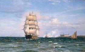 Vilhelm Arnesen: Eine dänische Barke vor Helsengor und der schwedischen Küste