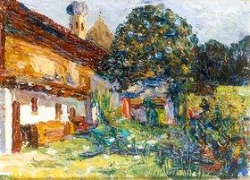 Wassily Kandinsky: Kochel, Bauernhaus mit Kirche, Sommer