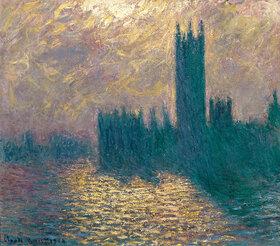 Claude Monet: Das Londoner Parlament, stürmischer Himmel