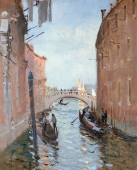 Pierre-Eugene Montézin: Venedig, Kanal mit Brücke, Gemälde
