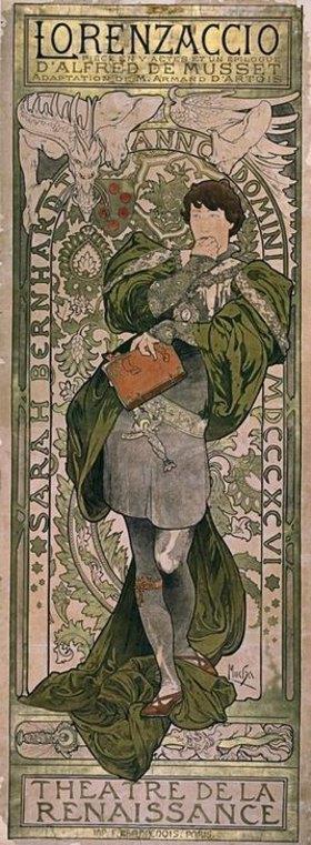 Alfons Mucha: Sarah Bernhardt als Lorenzaccio