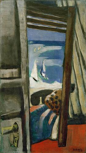 Max Beckmann: Blick auf das Meer, rot, grau, blau