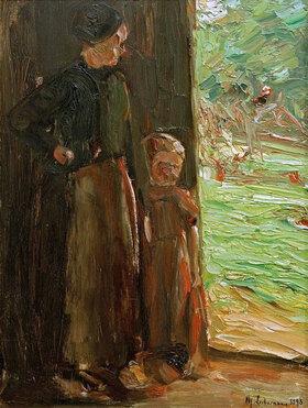 Max Liebermann: Bäuerin mit Kind unter der Tür
