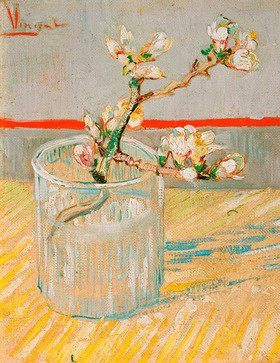 Vincent van Gogh: GSprig of Flowering Almond Blossom in a Glass, Arles