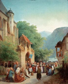 Jakob Fürchtegott Dielmann: Prozession am Rhein