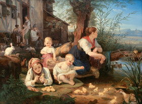 C.W.J. (von der Rabenau) Engel: Mutter mit Kindern am Dorfweiher
