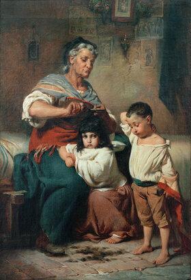 Johann Heinrich Hasselhorst: Großmutter, ihren Enkeln die Haare schneidend