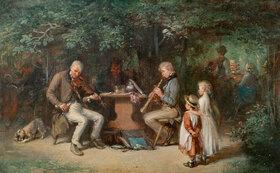 Anton Burger: Musikanten im Wirtshausgarten