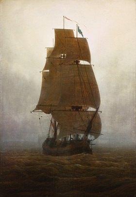 Caspar David Friedrich: Caspar David Friedrich, Segelschiff im Nebel/1815Oel auf Leinwand, 71 x 49,5 cm.Chemnitz, Staedtische Kunstsammlungen