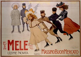 Group of young ice runners, advertising poster