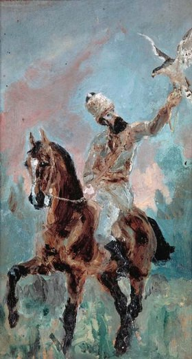 Der Vater des Künstlers, Graf Alphonse de Toulouse-Lautrec als Falkner