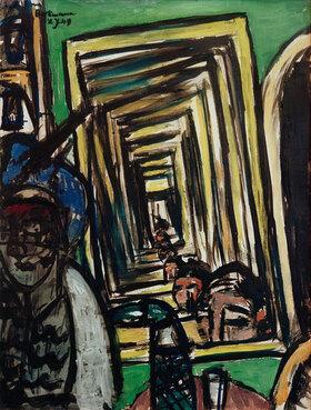 Max Beckmann: Cafe-Interieur mit Spielspiegel