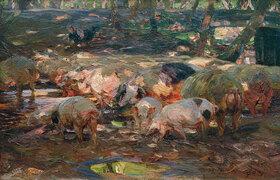 Heinrich von Zügel: Schweineherde an der Altrheinbrücke