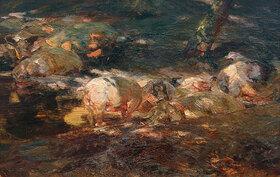 Heinrich von Zügel: Schweineherde im Walde am Wasser