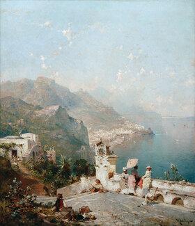 Franz Richard Unterberger: Elegante Damen überblicken den Golf von Salerno