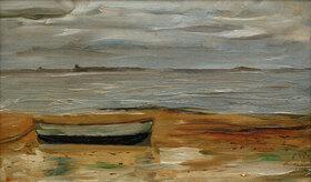 Max Beckmann: Strand mit grauem Kahn und grauem Meer
