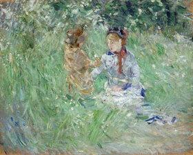 Berthe Morisot: Frau und Kind auf einer Wiese in Bougival