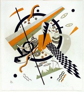 Wassily Kandinsky: Komposition mit Schachbrettstreifen. Aus der Folge Kleine Welten IV