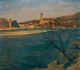 Arthur Grimm: Grimm, Arthur;1883-1948.?Rhine at Säckingen? (Rhein bei Säckingen), 1910.Oil on canvas, 100.5 × 121 cm.Inv.Nr. 776;Mainz, State Muse