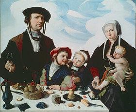 Maarten van Heemskerck: Heemskerck, Maarten van 1498?1574.?Familienbild?, vor 1532.(Der Haarlemer Patrizier Pieter Jan Foppeszoon und seine Familie).Öl auf Eichenholz, 119 × 140,5 cm.Kassel, Staatliche Kunstsammlungen