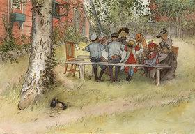 Carl Larsson: Frühstück unter der großen Birke