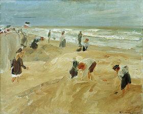 Max Liebermann: Spielende Kinder am Strand von Noordwijk (Strandszene in No