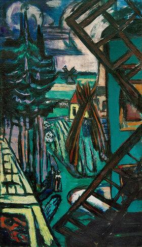 Max Beckmann: Große Landschaft aus Laren mit Windmühle
