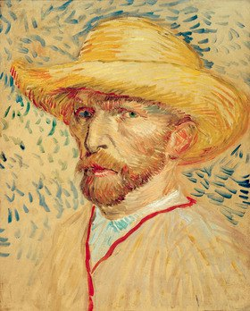 Vincent van Gogh: Self portrait with straw hat and artists smock