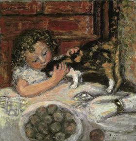 Pierre Bonnard: Kleines Maedchen mit Katze