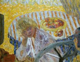 Pierre Bonnard: Junge Frau mit gestreiftem Tischtuch