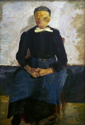 Paula Modersohn-Becker: Sitzende Frau mit im Schoß gefalteten Händen