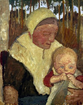 Paula Modersohn-Becker: sitting Peasant Woman with Child before birch Trees