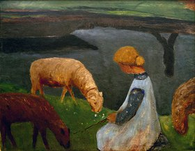 Paula Modersohn-Becker: Sitzendes Mädchen mit Schafen am Weiher