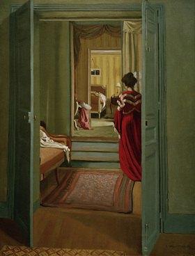 Felix Vallotton: Interieur mit Frau in Rot