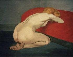 Felix Vallotton: Weiblicher Akt vor einem roten Sofa kniend