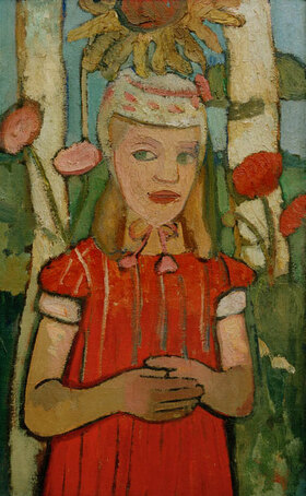 Paula Modersohn-Becker: Mädchen in rotem Kleid vor Sonnenblume