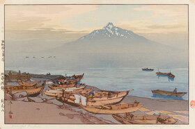 Yoshida Hiroshi: Ruhige Gewässer der Nördlichen See: der Berg Rishiri