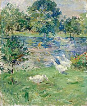 Berthe Morisot: Mädchen in einem Boot mit Gänsen