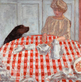 Pierre Bonnard: The red-chequered Tablecloth or The Dog´s Dinner