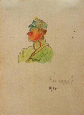 László Moholy-Nagy: Ich bin es (Selbstbildnis als Offizier), 1917 Kreide und Bleistift auf Feldpostkarte, 12,3 × 9 cm, Budapest, Sammlung Elsö Magyar Látványtár Alapitvàny