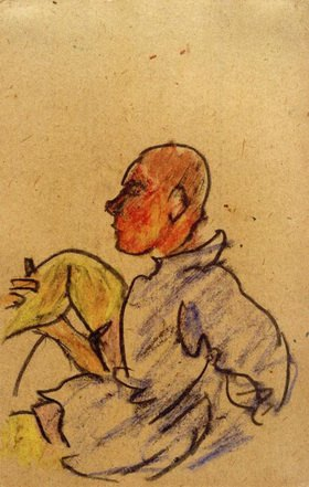 László Moholy-Nagy: Ohne Titel (Sitzender mit angewinkeltem rechten Bein)