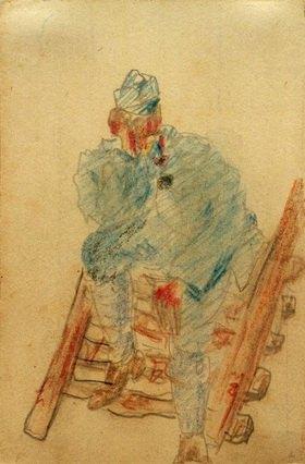 László Moholy-Nagy: Ohne Titel (Auf Holzleiter sitzender Soldat)