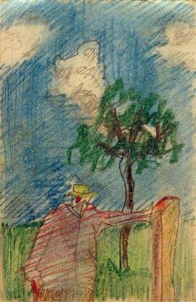 László Moholy-Nagy: Ohne Titel (Unterm Baum stehender Mann)