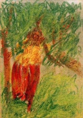 László Moholy-Nagy: Ohne Titel (Unterm Baum stehende Frau)